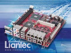 Liantec TBM-1441 Tiny-Bus PCIe Quad Gigabit Ethernet Extension Solution on Mini-ITX Small Form Factor EmBoard